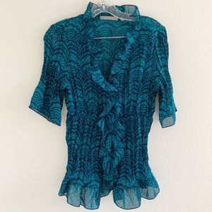 NY Collection Blue and Dark Teal Blouse